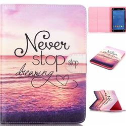 8 inch Universal Tablet Flip Cover Folio Stand Leather Wallet Case - Never Stop Dreaming