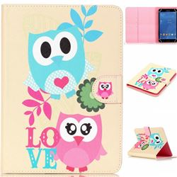 8 inch Universal Tablet Flip Cover Folio Stand Leather Wallet Case - Owl Lovers