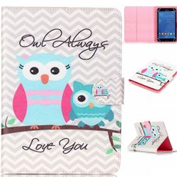 8 inch Universal Tablet Flip Cover Folio Stand Leather Wallet Case - Owls Always Love You