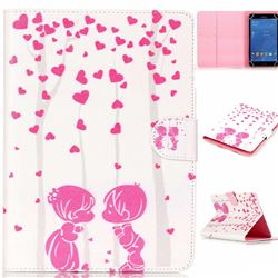 8 inch Universal Tablet Flip Cover Folio Stand Leather Wallet Case - Lover Hearts