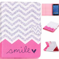 8 inch Universal Tablet Flip Cover Folio Stand Leather Wallet Case - Waves Smile