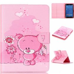 8 inch Universal Tablet Flip Cover Folio Stand Leather Wallet Case - Tiny Pink Bear