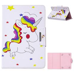 8 inch Universal Tablet Flip Cover Folio Stand Leather Wallet Tablet Case - Rainbow Unicorn