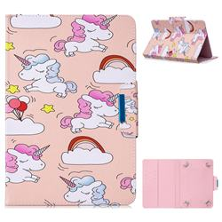8 inch Universal Tablet Flip Cover Folio Stand Leather Wallet Tablet Case - Cloud Unicorn