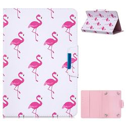 10 Inch Universal Tablet Flip Cover Folio Stand Leather Wallet Tablet Case - Red Flamingo