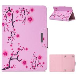 10 Inch Universal Tablet Flip Cover Folio Stand Leather Wallet Tablet Case - Watercolor Plum