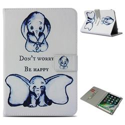 Be Happy Elephant Pattern Universal 10 inch Tablet Flip Folio Stand Leather Wallet Tablet Case Cover