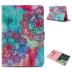 Fire Red Flower Pattern Universal 10 inch Tablet Flip Folio Stand Leather Wallet Tablet Case Cover