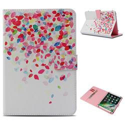 Colored Petals Pattern Universal 10 inch Tablet Flip Folio Stand Leather Wallet Tablet Case Cover