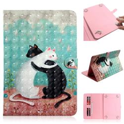 Black and White Cat 3D Painted Universal 10 inch Tablet Flip Folio Stand Leather Wallet Tablet Case Cover