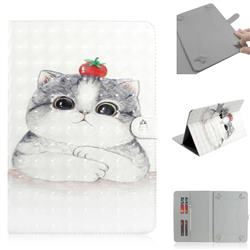 Cute Tomato Cat 3D Painted Universal 10 inch Tablet Flip Folio Stand Leather Wallet Tablet Case Cover