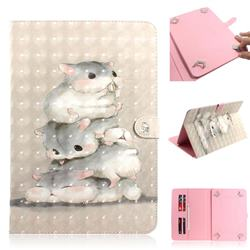Three Squirrels 3D Painted Universal 10 inch Tablet Flip Folio Stand Leather Wallet Tablet Case Cover