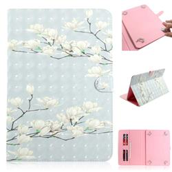 Magnolia Flower 3D Painted Universal 10 inch Tablet Flip Folio Stand Leather Wallet Tablet Case Cover