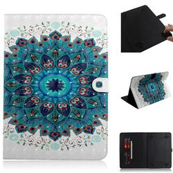 Peacock Mandala 3D Painted Universal 10 inch Tablet Flip Folio Stand Leather Wallet Tablet Case Cover