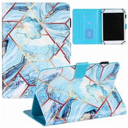 8 inch Universal Tablet Cover Lake Blue Stitching Color Marble Leather Flip Cover