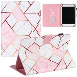 7 inch Universal Tablet Cover Pink White Stitching Color Marble Leather Flip Cover