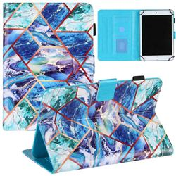 7 inch Universal Tablet Cover Green and Blue Stitching Color Marble Leather Flip Cover