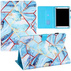 10 inch Universal Tablet Cover Lake Blue Stitching Color Marble Leather Flip Cover