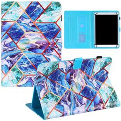 10 inch Universal Tablet Cover Green and Blue Stitching Color Marble Leather Flip Cover
