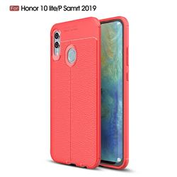 Luxury Auto Focus Litchi Texture Silicone TPU Back Cover for Huawei P Smart (2019) - Red