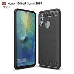 Luxury Carbon Fiber Brushed Wire Drawing Silicone TPU Back Cover for Huawei P Smart (2019) - Black