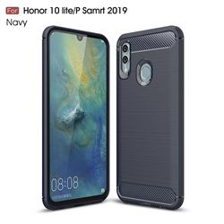 Luxury Carbon Fiber Brushed Wire Drawing Silicone TPU Back Cover for Huawei P Smart (2019) - Navy