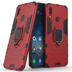 Black Panther Armor Metal Ring Grip Shockproof Dual Layer Rugged Hard Cover for Huawei P Smart (2019) - Red