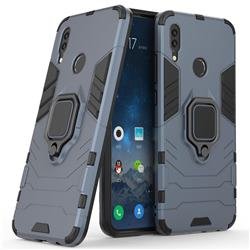 Black Panther Armor Metal Ring Grip Shockproof Dual Layer Rugged Hard Cover for Huawei P Smart (2019) - Blue