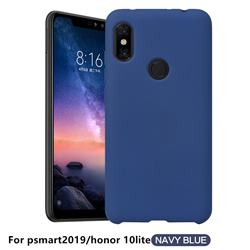 Howmak Slim Liquid Silicone Rubber Shockproof Phone Case Cover for Huawei P Smart (2019) - Midnight Blue