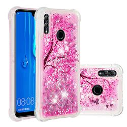 Pink Cherry Blossom Dynamic Liquid Glitter Sand Quicksand Star TPU Case for Huawei P Smart (2019)