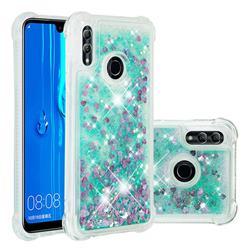 Dynamic Liquid Glitter Sand Quicksand TPU Case for Huawei P Smart (2019) - Green Love Heart