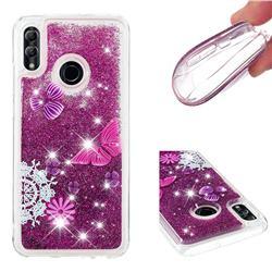 Purple Flower Butterfly Dynamic Liquid Glitter Quicksand Soft TPU Case for Huawei P Smart (2019)
