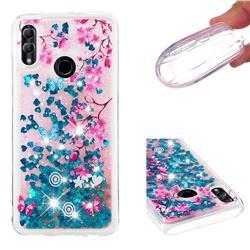 Blue Plum Blossom Dynamic Liquid Glitter Quicksand Soft TPU Case for Huawei P Smart (2019)