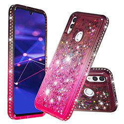 Diamond Frame Liquid Glitter Quicksand Sequins Phone Case for Huawei P Smart (2019) - Gray Pink