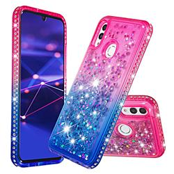Diamond Frame Liquid Glitter Quicksand Sequins Phone Case for Huawei P Smart (2019) - Pink Blue