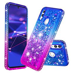 Diamond Frame Liquid Glitter Quicksand Sequins Phone Case for Huawei P Smart (2019) - Blue Purple