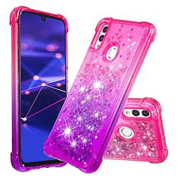 Rainbow Gradient Liquid Glitter Quicksand Sequins Phone Case for Huawei P Smart (2019) - Pink Purple