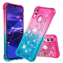 Rainbow Gradient Liquid Glitter Quicksand Sequins Phone Case for Huawei P Smart (2019) - Pink Blue