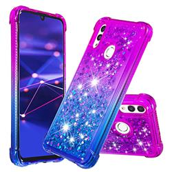Rainbow Gradient Liquid Glitter Quicksand Sequins Phone Case for Huawei P Smart (2019) - Purple Blue