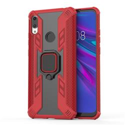 Predator Armor Metal Ring Grip Shockproof Dual Layer Rugged Hard Cover for Huawei P Smart (2019) - Red