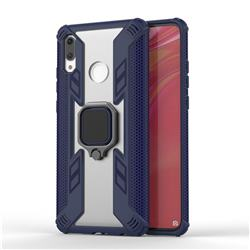 Predator Armor Metal Ring Grip Shockproof Dual Layer Rugged Hard Cover for Huawei P Smart (2019) - Blue