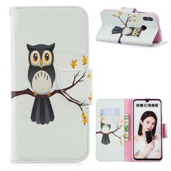 Owl on Tree Leather Wallet Case for Huawei P Smart (2019)