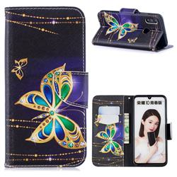 Golden Shining Butterfly Leather Wallet Case for Huawei P Smart (2019)