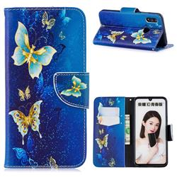 Golden Butterflies Leather Wallet Case for Huawei P Smart (2019)