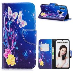 Yellow Flower Butterfly Leather Wallet Case for Huawei P Smart (2019)