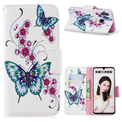 Peach Butterflies Leather Wallet Case for Huawei P Smart (2019)