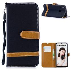 Jeans Cowboy Denim Leather Wallet Case for Huawei P Smart (2019) - Black