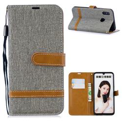 Jeans Cowboy Denim Leather Wallet Case for Huawei P Smart (2019) - Gray