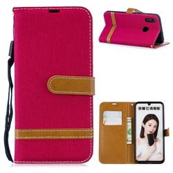 Jeans Cowboy Denim Leather Wallet Case for Huawei P Smart (2019) - Red