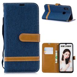 Jeans Cowboy Denim Leather Wallet Case for Huawei P Smart (2019) - Dark Blue